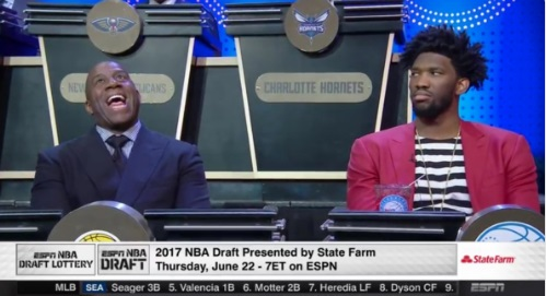 PHOTO-Magic-Johnson-Laughing-While-Joel-Embiid-Grimaces-Over-Lakers-Getting-2nd-Overall-Pick